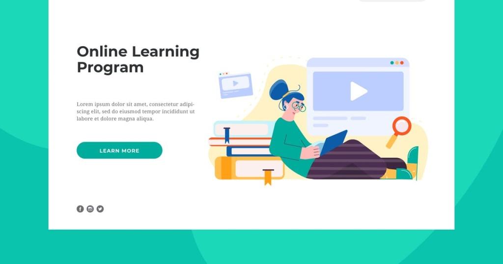 网站着陆页设计在线学习插画素材 Online Learning Landing Page插图
