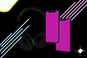 在线音乐APP设计效果图样机模板 Neon Music App MockUp插图12