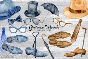 男士服饰水彩剪贴画素材 Watercolor Gentleman\\\\\\'s Wardrobe插图1