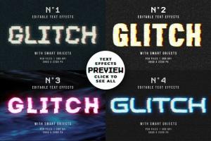 毛刺字体特效设计PSD模板 Photoshop Glitch Text Effects插图12