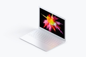 MacBook超极本屏幕演示右视图样机 Clay MacBook Mockup, Isometric Right View插图4