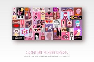 摇滚音乐主题矢量插画海报设计素材 Concert Poster design vector illustration插图1