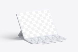"""附带键盘的iPad Pro平板电脑屏幕演示样机模板 Clay iPad Pro 12.9"""" Mockup, With Key Board插图2"""
