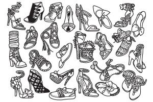 25款时尚女鞋涂鸦矢量图形图案素材 Fashion Shoes / Hi Hill Doodle Vector插图(2)