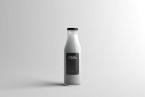 玻璃牛奶瓶牛奶品牌Logo设计展示样机模板 Milk Bottle Packaging Mock-Up插图8