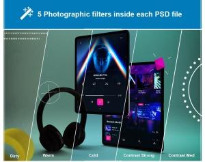 抽象设计风格iPad Pro平板电脑APP设计屏幕预览样机 Abstract iPad Pro Music App插图8