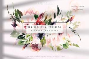 腮红色水彩花卉手绘高清PNG素材 Watercolor Blush & Plum插图1
