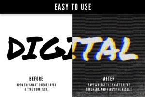 毛刺字体特效设计PSD模板 Photoshop Glitch Text Effects插图3