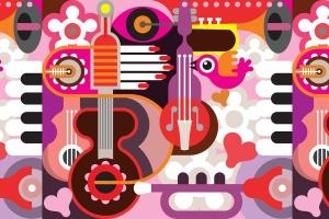 音乐主题矢量抽象背景素材 Abstract Musical Background插图1