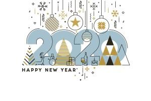 扁平设计风格彩色线条新年庆祝主题概念插画素材 Flat Thin Color Line Concept of Happy New Year插图1