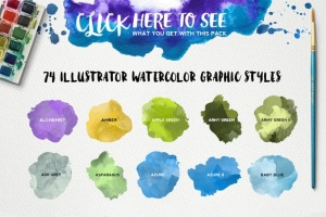 精美水彩插画设计素材包 for AI Watercolor KIT for Illustrator插图4