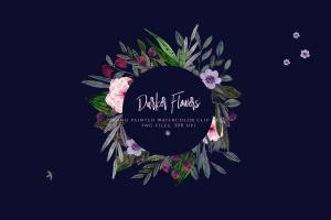暗色手绘水彩花卉剪贴画PNG素材 Darker Flowers插图2