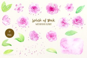 粉红色水彩剪贴画素材 Watercolor Clipart Splash of Pink插图2
