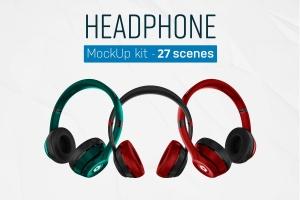 音乐头戴耳机设备样机套装 Headphones Mockup Kit插图1