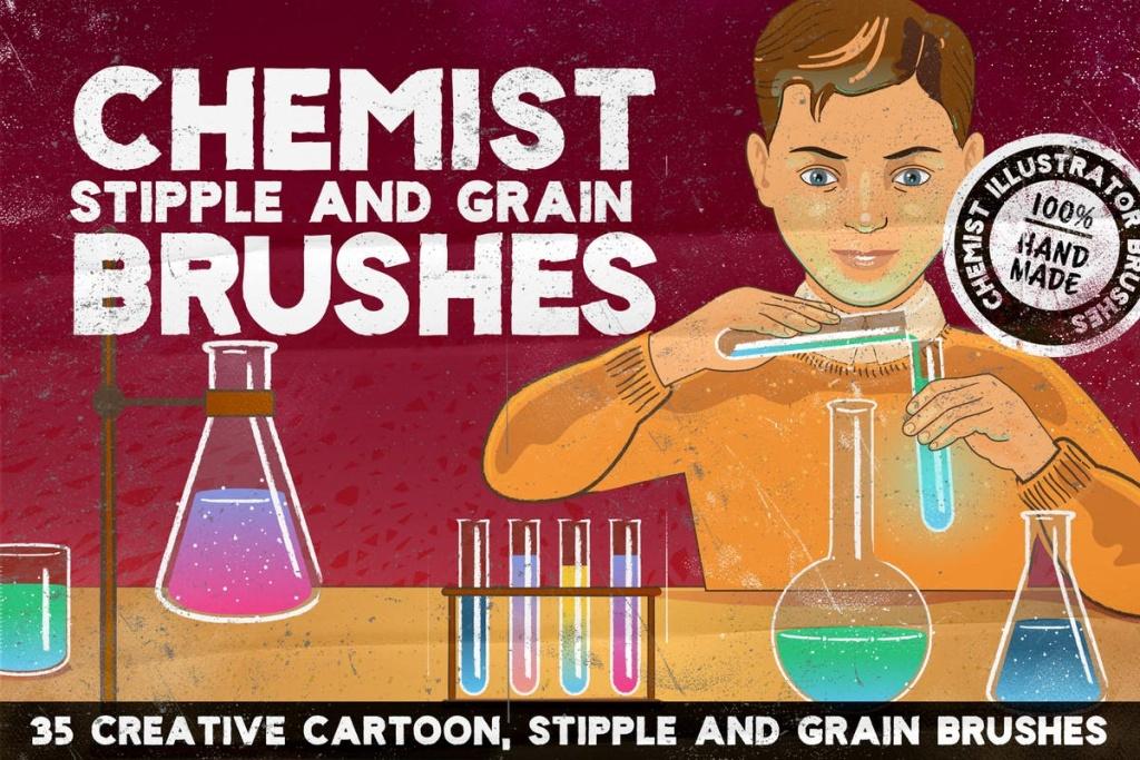 复古怀旧风格绘画AI笔刷 CHEMIST Illustrator Brushes插图