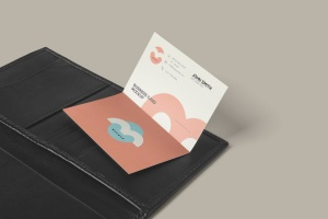 折叠式名片设计效果图样机PSD模板 Two Fold Business Card Mockups插图5