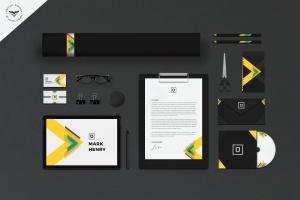 品牌VI视觉设计等距网格办公用品套装设计样机模板 Stationery Branding Mockups插图1