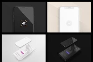 黑色iPhone X设备UI设计展示样机套装 iPhone X Mockup Set插图4