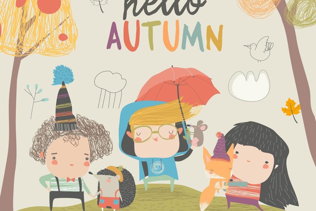 秋天儿童动物乐园主题水彩手绘图案设计素材 Cute children meeting autumn with little animals.插图