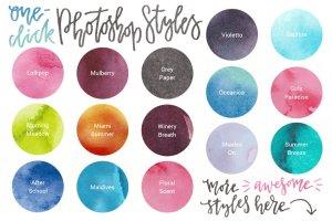 水彩纹理&图层样式设计套装 Watercolor Magic – design kit插图2