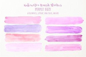水彩紫色薄雾画笔笔刷 Watercolor Brush Strokes Purple Haze插图(1)
