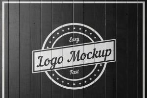 平面logo木板背景纹理样机 Logo Flat Mockup插图7