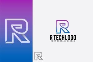创意字母Logo模板系列之字母R R tech logo插图1