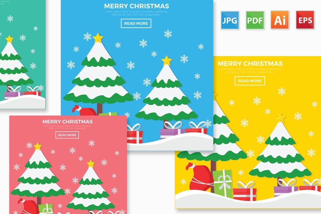 圣诞节元素圣诞树&雪花矢量设计素材 Merry Christmas design插图