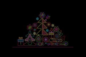 霓虹灯圣诞树线条艺术矢量插画素材 Christmas Tree Neon Design + 2 line art options插图1