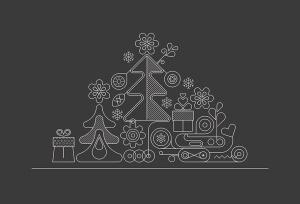 霓虹灯圣诞树线条艺术矢量插画素材 Christmas Tree Neon Design + 2 line art options插图3