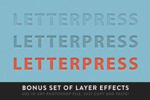 凸版印刷文本图层样式 RetroSupply LetterPress插图5