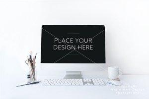 简约办公场景iMac一体机电脑样机PSD模板 iMac mockup – PSD file插图1