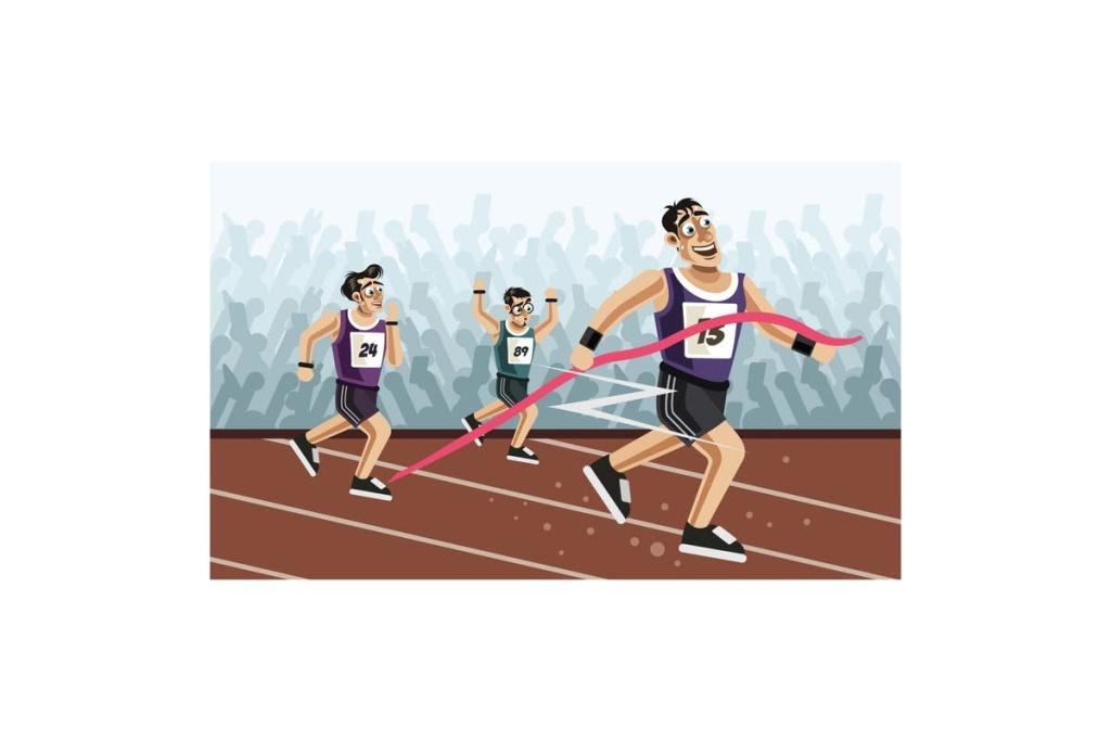 田径跑步运动卡通矢量插画设计素材 Runners cross the finish line插图