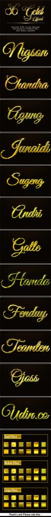 36款逼真黄金字体的PS图层样式下载 36 Gold Effect [psd]插图