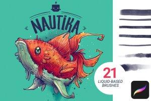 手绘插画概念艺术家Procreate笔刷[水墨/马克笔/水彩] Nautika – Brush Pack for Procreate插图(1)