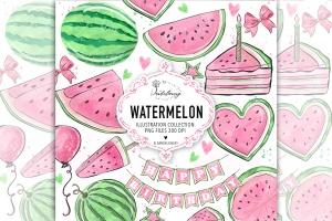 粉色西瓜瓣水彩剪贴画PNG素材 Watercolor Pink Watermelon Clipart插图1