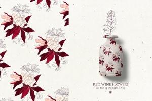 酒红色水彩手绘花卉PNG素材 Red Wine Flowers插图4