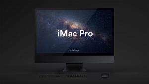酷黑背景iMac Pro一体机电脑样机模板 Dark iMac Pro Mockup插图2