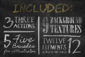 粉笔画粉笔字体样式&PS笔刷 Chalkboard Generator插图3
