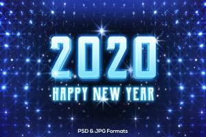 蓝色新年发光效果字体样式PSD分层模板v2 New Year 2020 V2插图1