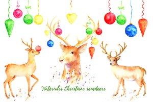 圣诞节驯鹿手绘水彩剪贴画 Christmas Reindeer Clipart插图1