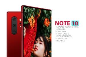 三星智能手机Note 10前视图和后视图样机PSD模板 Note 10 Front and Back Layered PSD MockUps插图1