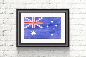 一枚水彩澳大利亚国旗 Watercolor Flag of Australia插图2