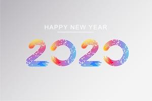 2020新年数字彩色矢量设计图形素材 2020 Happy New Year Greeting Card插图2