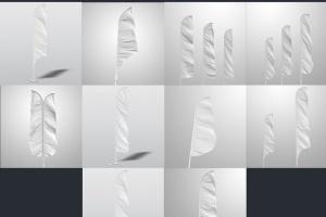 3D羽毛旗帜展示样机模板 3D Flags Feather / Bow / Sail Flag Mockup插图9