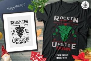 创意圣诞树毛衣T恤印花手绘图案设计素材 Christmas Tree Sweater T-Shirt Design. Xmas Party插图1
