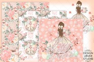 复活节快乐女孩水彩花卉剪贴画套装 Happy Easter Girl digital paper pack插图2