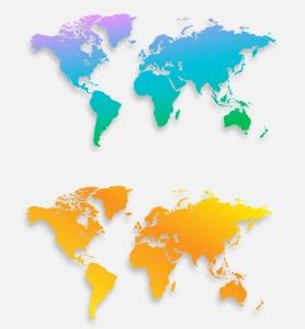 40种设计风格世界地图矢量图形设计素材下载 Map of the world 40 Version插图9