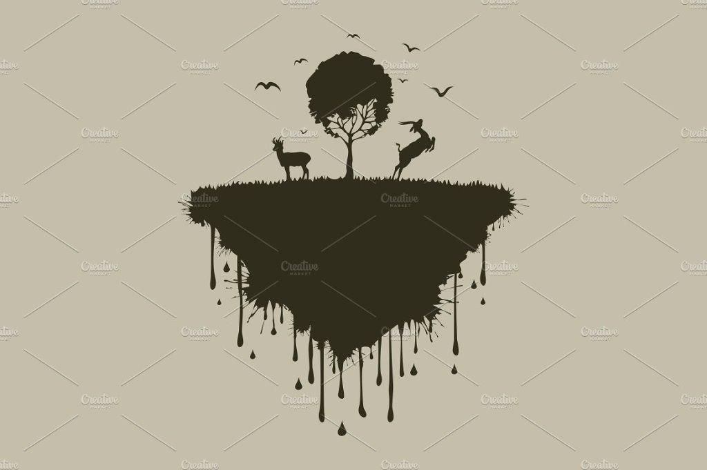 小岛上的两只鹿矢量插画 Island of deer插图