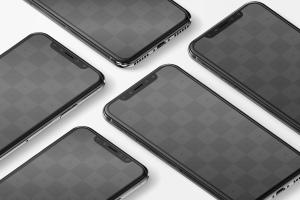 iPhone X多屏幕平铺视角手机应用UI设计效果预览样机07 iPhone X Mockup 07插图2